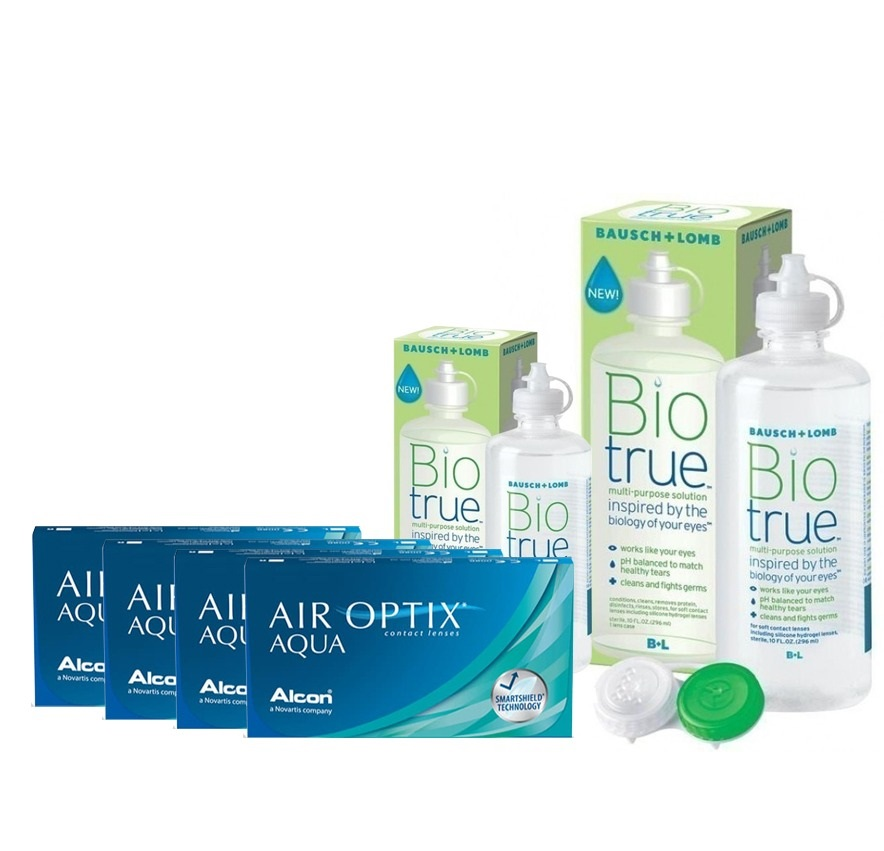 4 KUTU AIR OPTIX AQUA +BIO TRUE 300 + 120 ML SOLUSYON