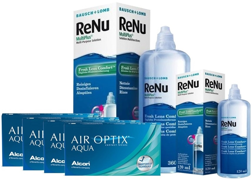 4 KUTU AIR OPTIX AQUA +RENU 360 + 120 ML SOLUSYON