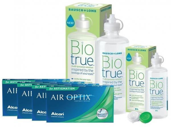 4 kutu Air Optix for Astigmatism +Bıotrue 300 ml + 120 ml Solusyon